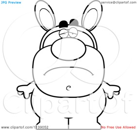 Cartoon-Clipart-Of-A-Black-And-White-Sad-Man-In-An-Easter-Bunny-Costume-Vector-Outlined-Coloring-Page-10241139052